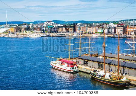 Transport ship in harbor by Aker Brygge, Oslo