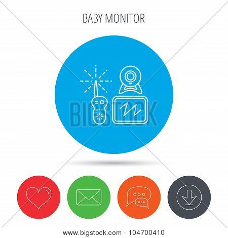 Baby monitor icon. Video nanny for newborn sign.