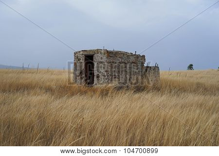 Abandoned Building in Field