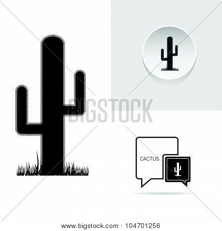 Cactus Speech Bubble Vector