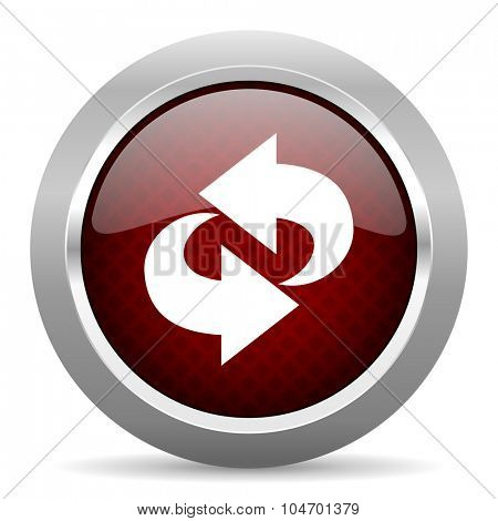 rotation red glossy web icon