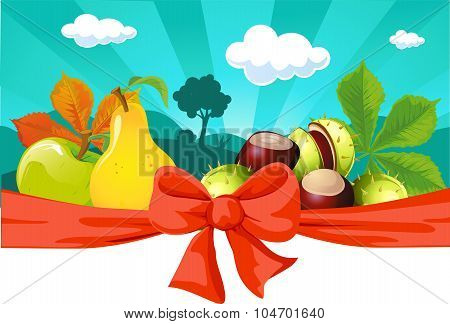 Autumn Still Life With Fruit, Vegetables, Tree And Chestnuts - Vector