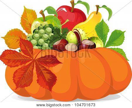 Pumpkin With Autumn Leaves - Vector Illustration