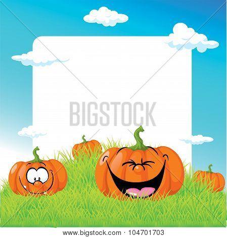 Funny Illustration With Pumpkin On Green Grass - Vector Frame Illustration