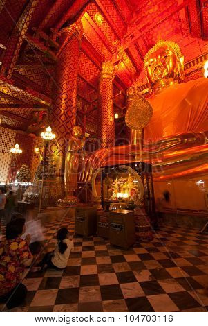 The Thai Buddhist Peoples Are Worshiped Luang Pho Tho In Wat Phanan Choeng,Ayutthaya,Thailand.