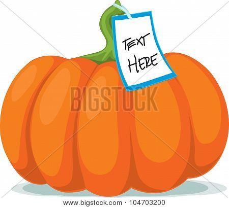 Pumpkin With Label - Vector Illustration