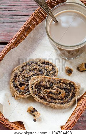 Freshly baked healthy cookies with nuts and dried fruits