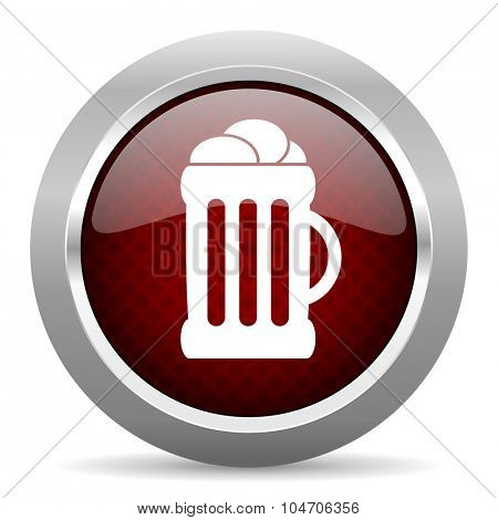 beer red glossy web icon