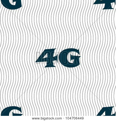 4G Sign Icon. Mobile Telecommunications Technology Symbol. Seamless Pattern With Geometric Texture.
