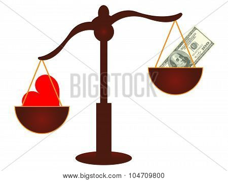 Love vs Money concept - Love wins - Vector