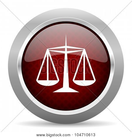 justice red glossy web icon