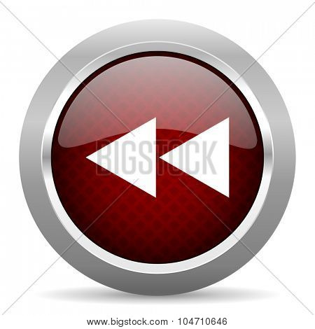 rewind red glossy web icon