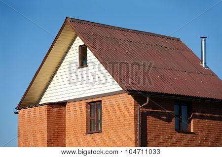 New country brick house closeup