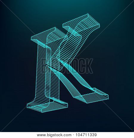 The letter K. Polygonal letter. Low poly model. The three-dimensional mesh. Volume mesh character.