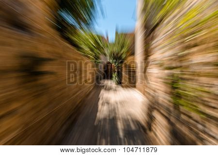 Alley in motion blur