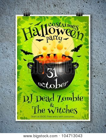 Bright green Halloween party poster template with orange witches brew in cauldron, moon and bats