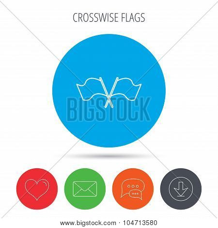 Crosswise waving flag icon. Location pointer.