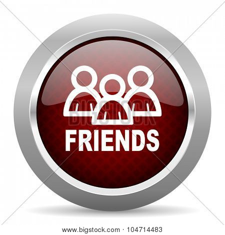 friends red glossy web icon