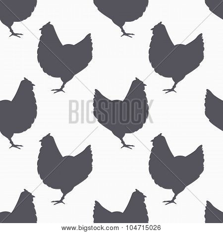 Farm bird silhouette seamless pattern. Chicken meat