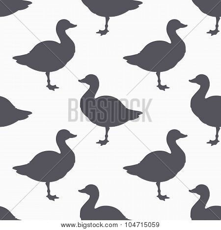 Farm bird silhouette seamless pattern. Goose meat