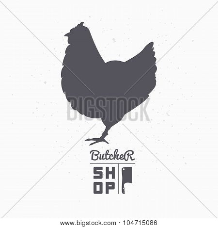 Farm bird silhouette. Chicken meat. Butcher shop template