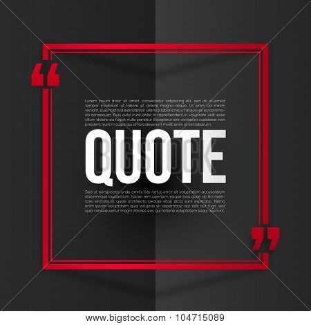 Red quote frame with white placeholder text at black folded paper background