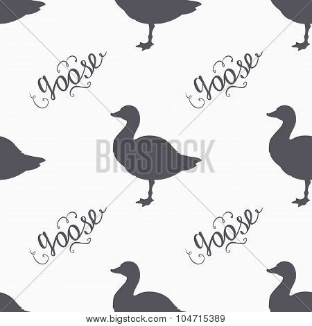 Hand drawn farm bird hipster silhouettes seamless pattern. Goose meat hand lettering