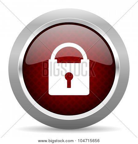 padlock red glossy web icon