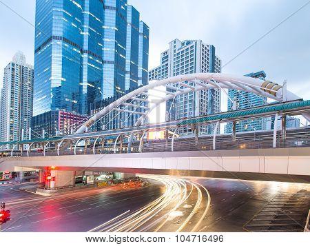 Chong Nonsi skywalk at bangkok, Thailand