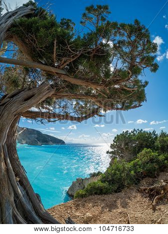View over Porto Katsiki beach in Lefkas island Greece