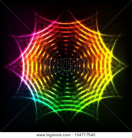 Abstract rainbow neon spirals vector cosmic circle