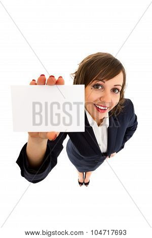 Businesswoman Holding Empty Card