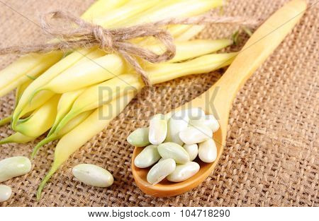Seeds And Stack Of Yellow Beans On Jute Canvas, Healthy Food