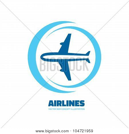 Airlines - vector logo concept. Aircraft illustration. Airplane logo. Tickets company logo.