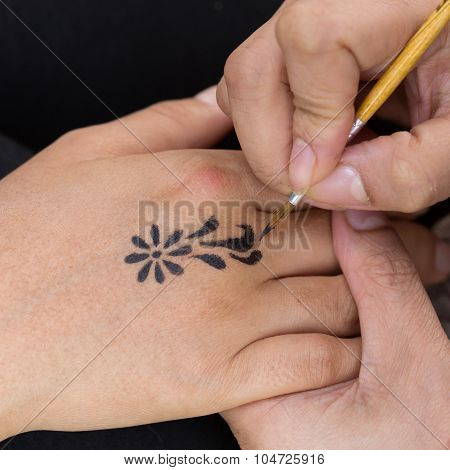 Body Paint, Artist Used Paintbrush Drawing Art On Hand Person