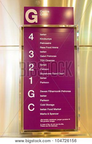 KUALA LUMPUR, MALAYSIA - APRIL 23, 2014: information plate in Suria KLCC shopping mall in Petronas Twin Towers. Suria KLCC is one of the largest shopping malls in Malaysia
