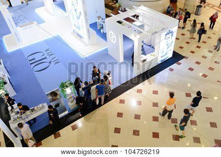 KUALA LUMPUR, MALAYSIA - APRIL 23, 2014: Giorgio Armani promotion in Suria KLCC. Giorgio Armani S.p.A. is an Italian fashion house founded by Giorgio Armani