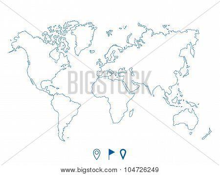 Political world blue map and contour illustration
