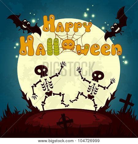 Halloween night background with full moon, cute dancing skeletons and bats