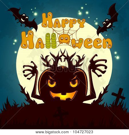 Halloween vector illustration for greeting card, poster or flyer design with funny letters