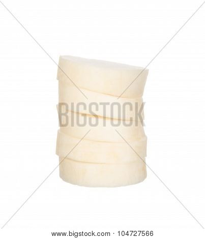 Sliced Chinese Radishes Isolated On White