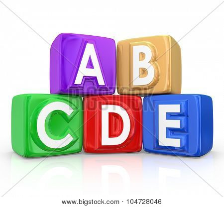 Letter blocks or cubes with the letters A B C D E on them to illustrate an organized order or procedure