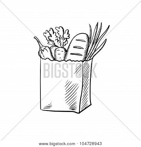 Fresh vegetables and bread in paper bag