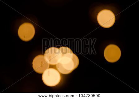 Defocused Abstract Bokeh Blur Of Light In The Dark  Background