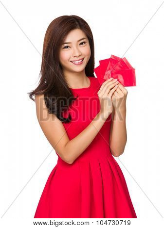 Chinese woman hold with chinese red pocket