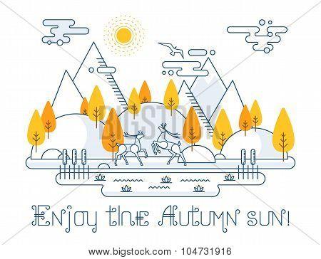 Autumn vector landscape illustration in linear style