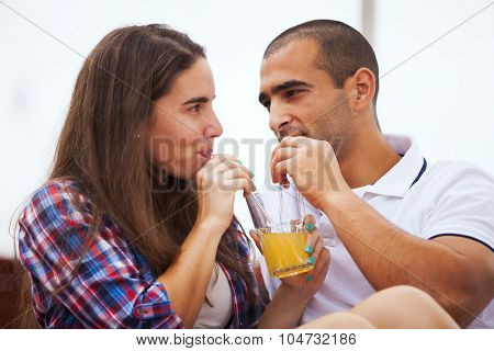 Couple having fun in an outdoor bar