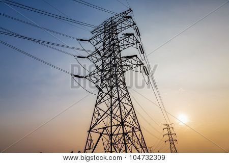 Electric Wires On A Column About High Volt