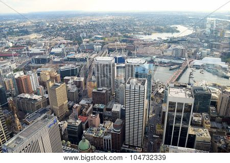 SYDNEY, AUSTRALIA - AUG 2015:  Aerial view of Sydney city on August 2015 in Sydney, Australia.