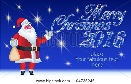 Vector Merry Christmas greeting card with funny  Santa Claus delivery gifts and magical text. With place for your fabulous greeting  text
